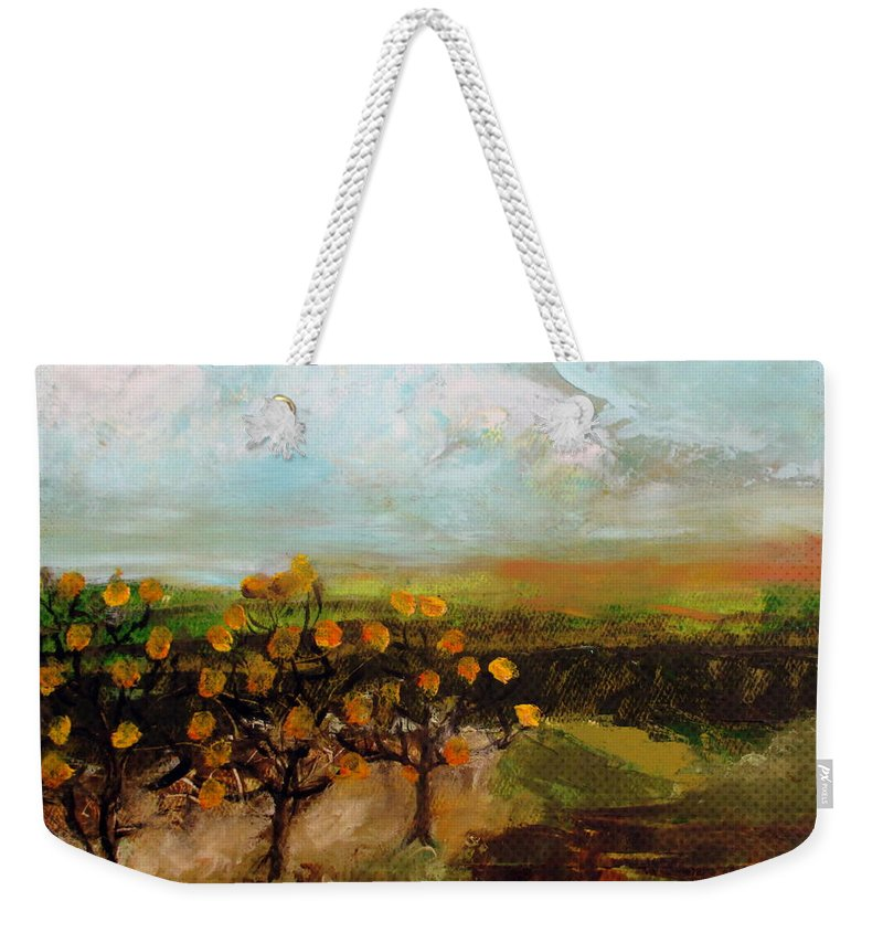 Weekender Tote Bag featuring the painting Golden Apples by Martha Dolan
