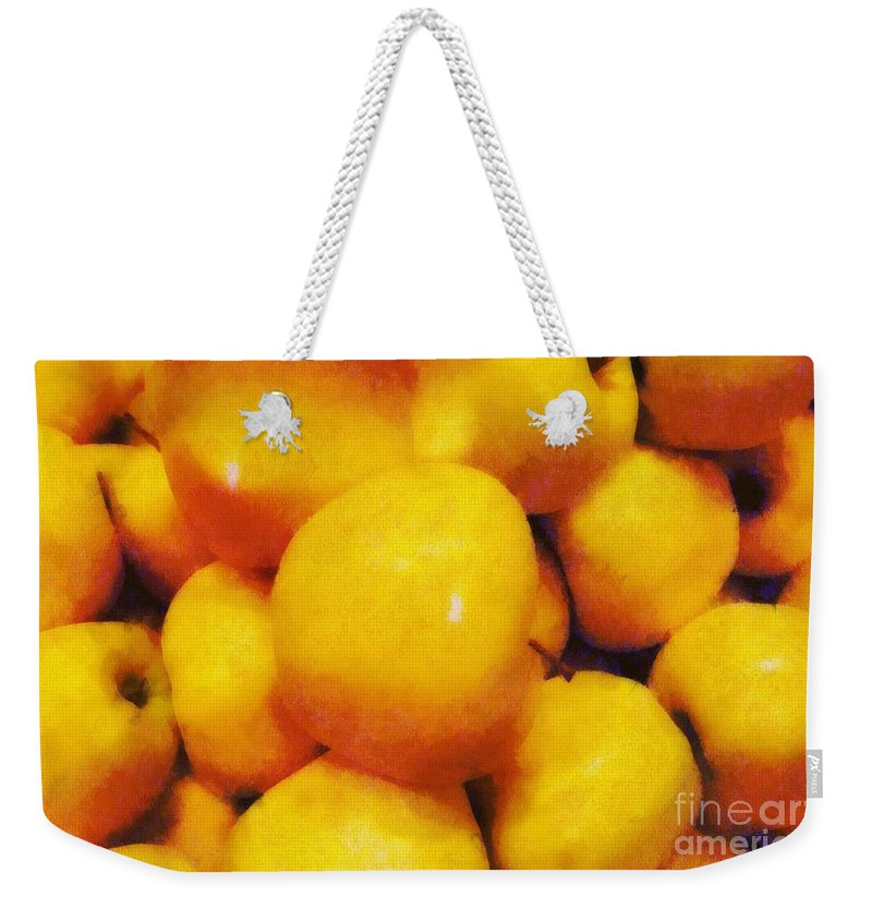 Apples Weekender Tote Bag featuring the painting Golden Apples Of The Sun by RC DeWinter