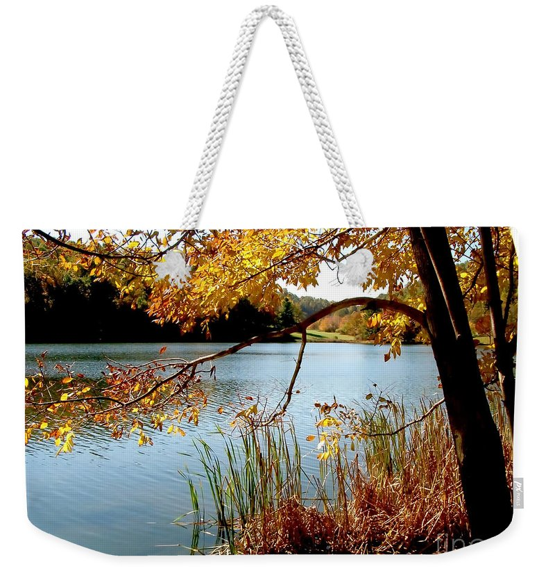 Lake Weekender Tote Bag featuring the photograph Golden Autumn Lake by Karin Everhart