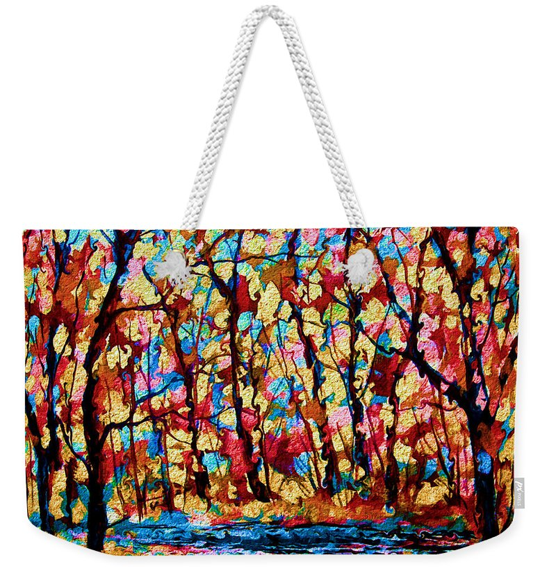 Autumn Weekender Tote Bag featuring the painting Golden Autumn by Natalie Holland