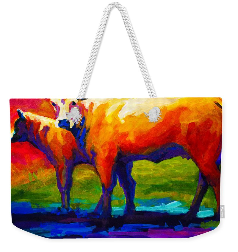 Cows Weekender Tote Bag featuring the painting Golden Beauty by Marion Rose