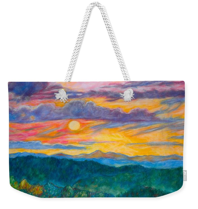 Landscape Weekender Tote Bag featuring the painting Golden Blue Ridge Sunset by Kendall Kessler