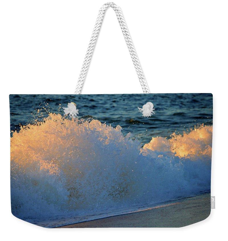 Ocean Weekender Tote Bag featuring the photograph Golden Blue Splash by Dianne Cowen
