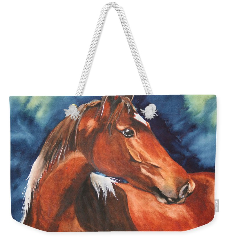 Horse Weekender Tote Bag featuring the painting Golden Boy by Jean Blackmer
