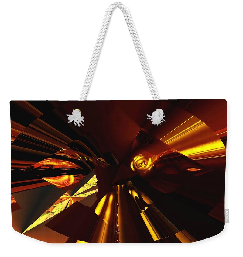 Abstract Weekender Tote Bag featuring the digital art Golden Brown Abstract by David Lane