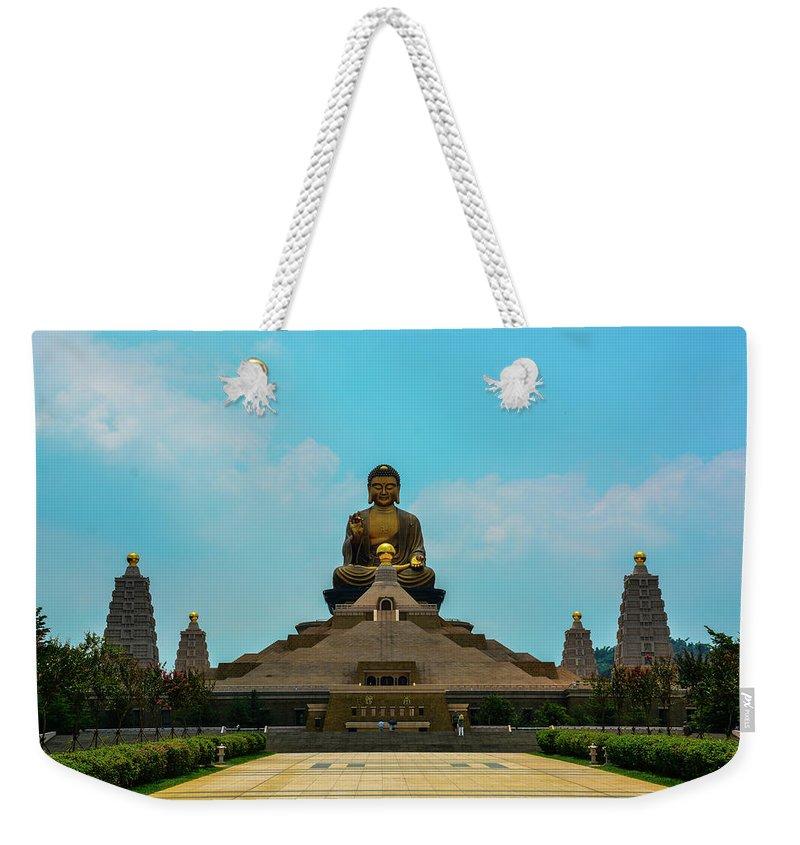 Goldenbuddha; Fo Guang Shan; Taiwan; Buddha; Statue; Weekender Tote Bag featuring the photograph Golden Buddha by John Lillis