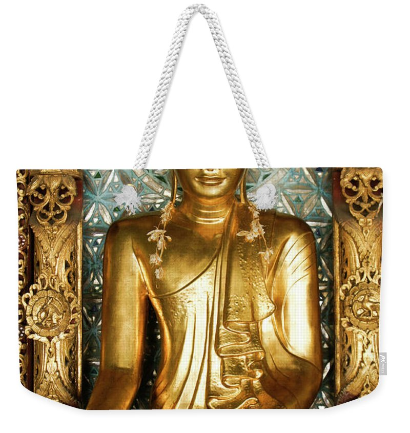 Asia Weekender Tote Bag featuring the photograph Golden Buddha by Michele Burgess