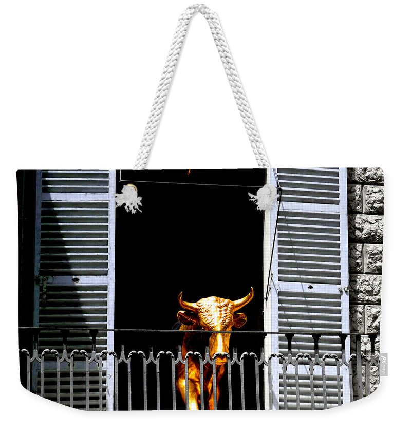 Bull Weekender Tote Bag featuring the photograph Golden Bull by Charles Stuart