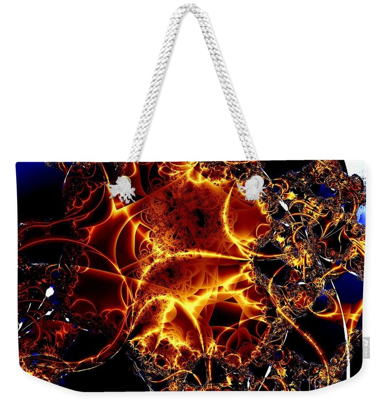 Cables Weekender Tote Bag featuring the digital art Golden Cabling by Ron Bissett
