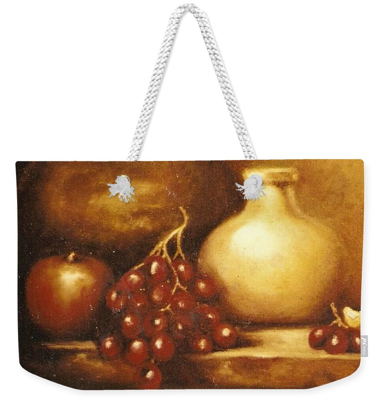 Still Life Weekender Tote Bag featuring the painting Golden Carafe by Jordana Sands