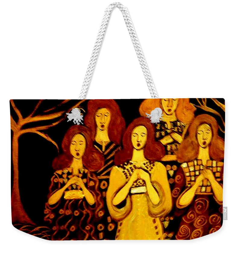 Choir Weekender Tote Bag featuring the painting Golden Chords by Rusty Gladdish