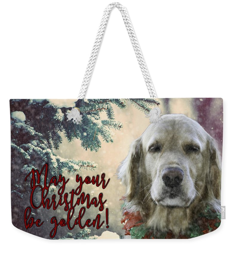 Golden Retriever Weekender Tote Bag featuring the photograph Golden Christmas by Nancy Forehand