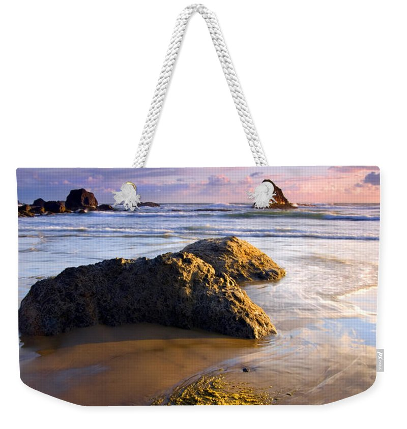 Beach Weekender Tote Bag featuring the photograph Golden Coast by Mike Dawson
