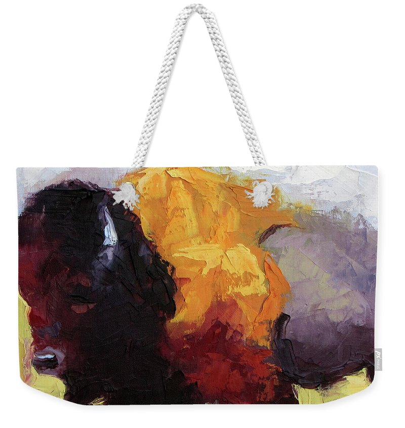 Buffalo Weekender Tote Bag featuring the painting Golden Coat by Lewis Bowman