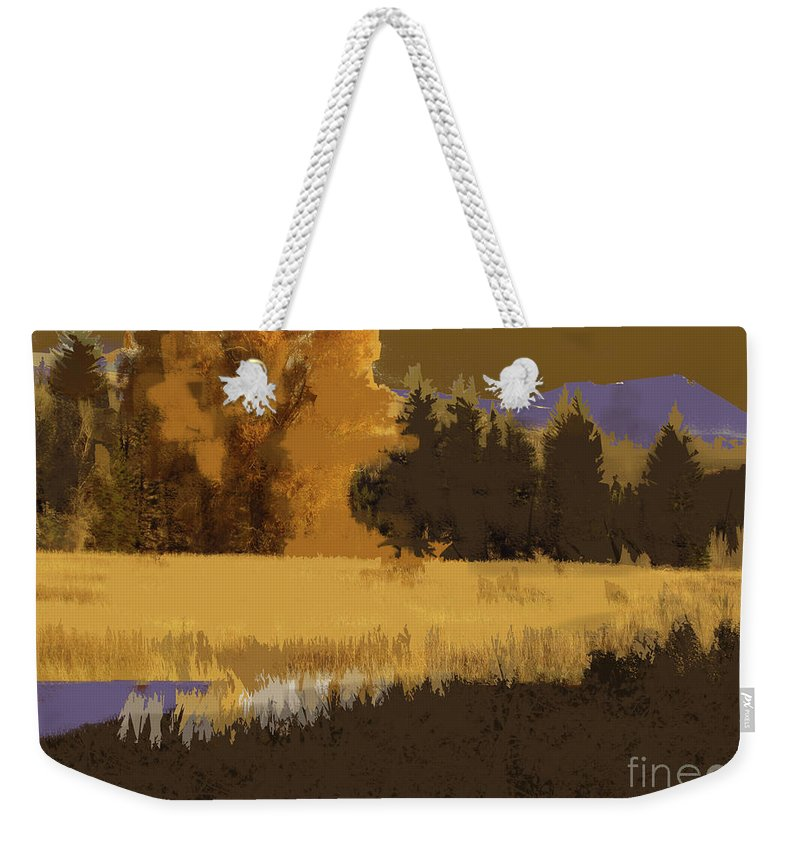 Fall Weekender Tote Bag featuring the painting Golden Cottonwood by Robert Todd