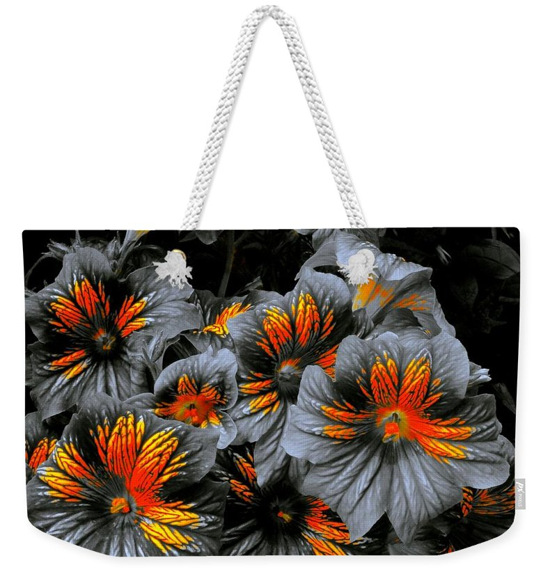 Monochrome Weekender Tote Bag featuring the photograph Golden Crestworks by Tim G Ross
