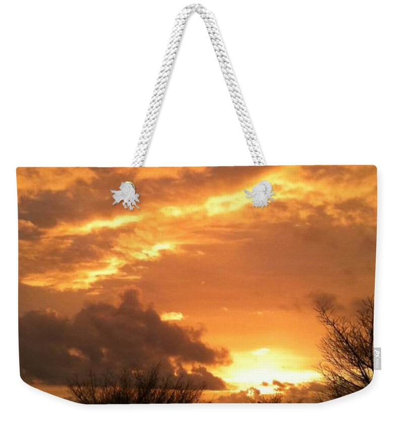 Dawn Weekender Tote Bag featuring the photograph Golden Dawn At Pohoiki by Laurel Rain