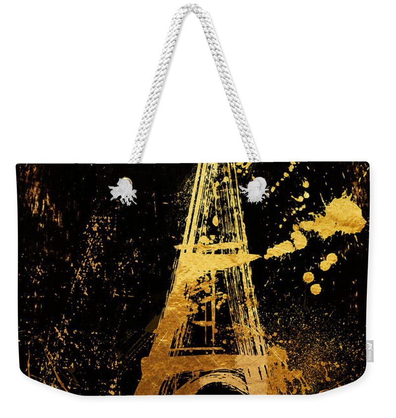 Eiffel Tower Weekender Tote Bag featuring the painting Golden Eiffel Tower Paris by Mindy Sommers