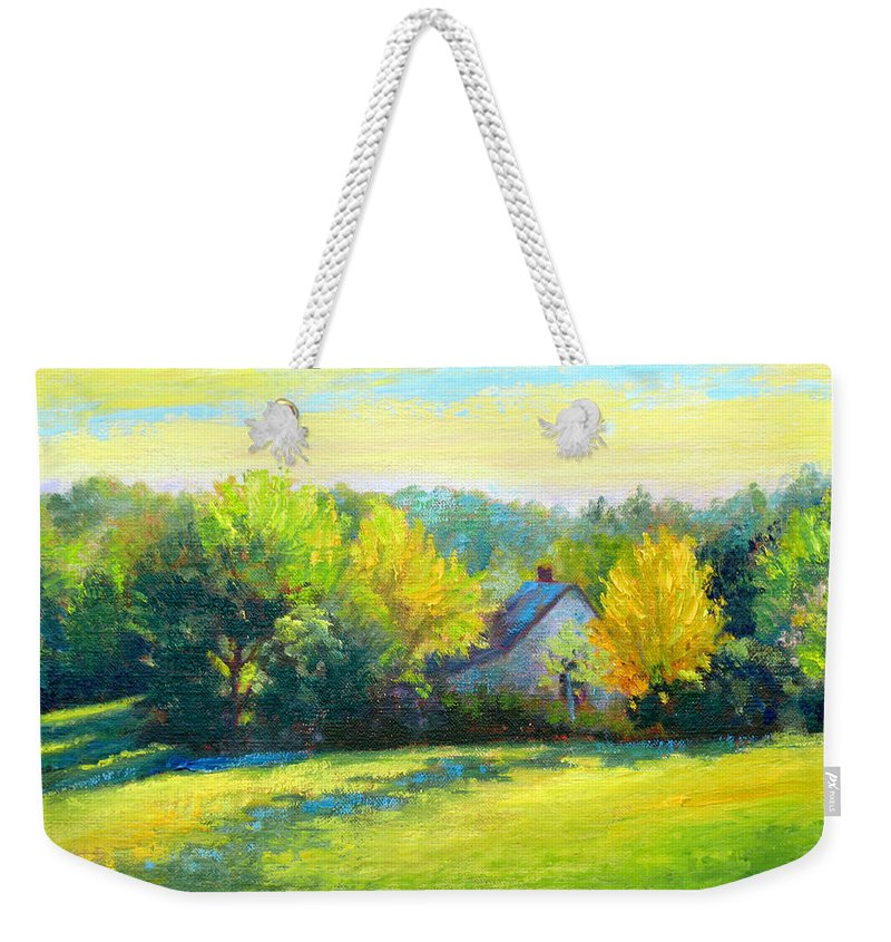 Landscape Weekender Tote Bag featuring the painting Golden Evening by Keith Burgess