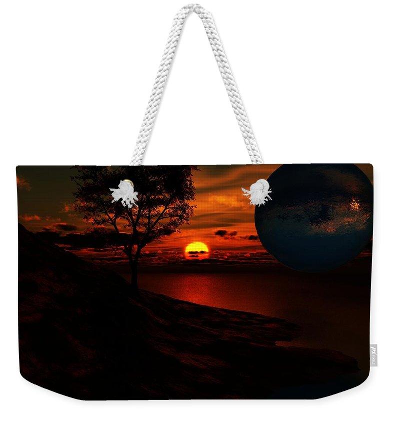 Fantasy Weekender Tote Bag featuring the digital art Golden Fantasy by David Lane