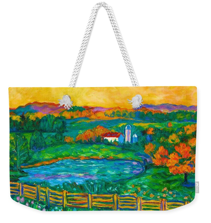 Landscape Weekender Tote Bag featuring the painting Golden Farm Scene Sketch by Kendall Kessler