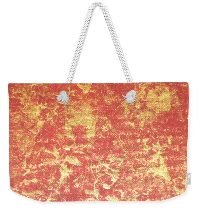 Red Weekender Tote Bag featuring the painting Golden Flames by Barb Montanye Meseroll