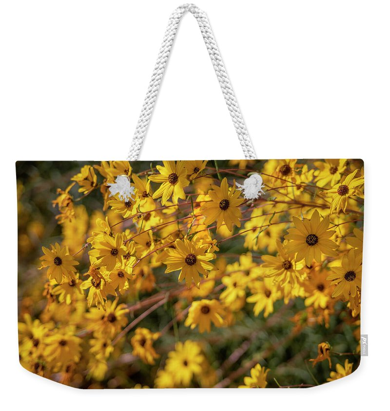Flowers Weekender Tote Bag featuring the photograph Golden Flowers by Jonathan Hansen