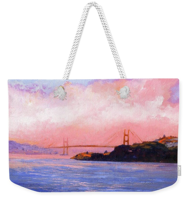 Landscape Weekender Tote Bag featuring the painting Golden Gate Bridge by Frank Wilson