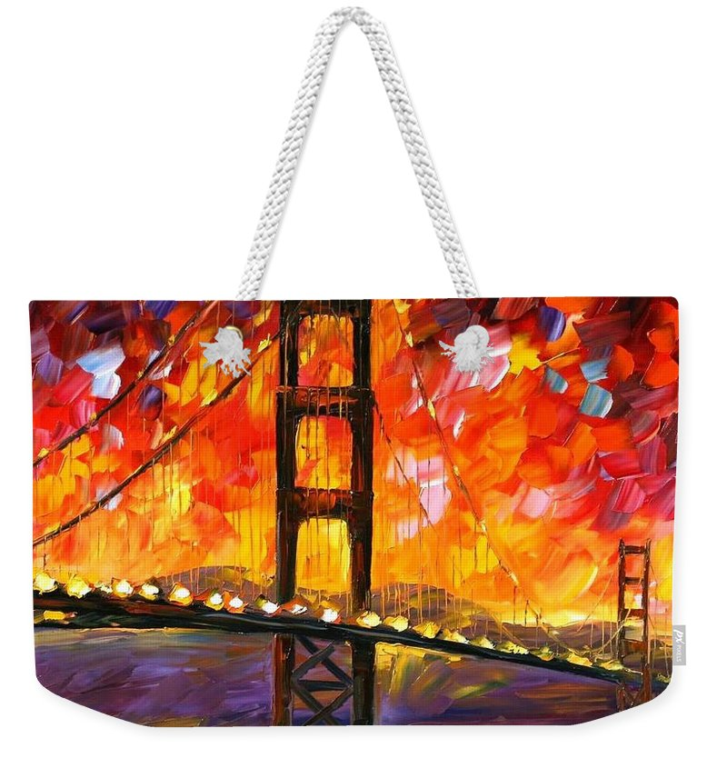 City Weekender Tote Bag featuring the painting Golden Gate Bridge by Leonid Afremov