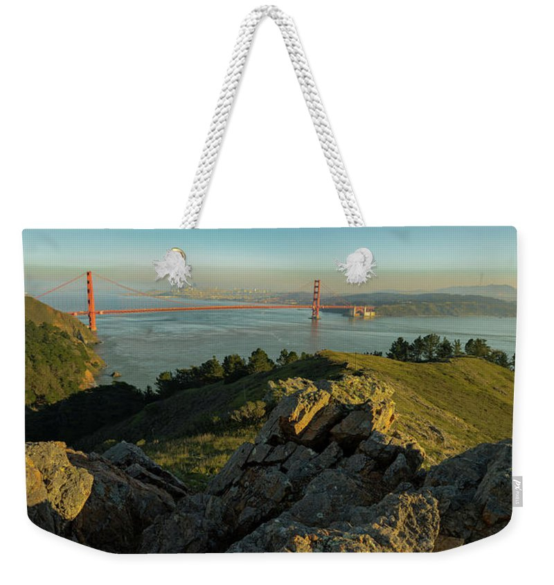 Bridge Weekender Tote Bag featuring the photograph Golden Gate by Seth Churchill