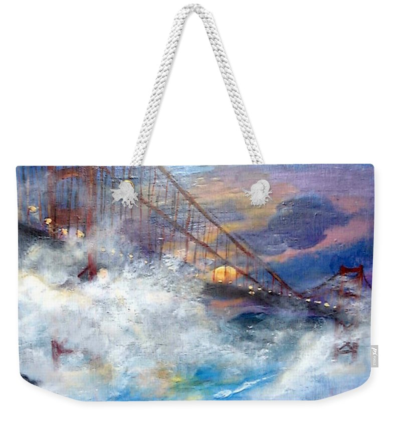 Golden Gate Weekender Tote Bag featuring the painting Golden Gate Sunset by Travis Day