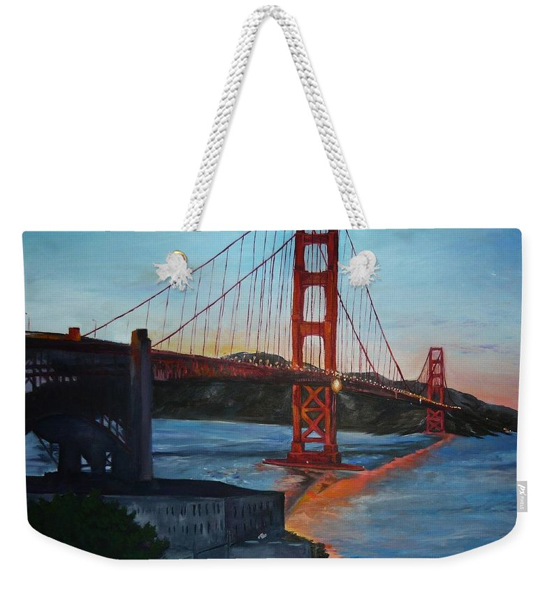 San Francisco Weekender Tote Bag featuring the painting Golden Gate by Travis Day