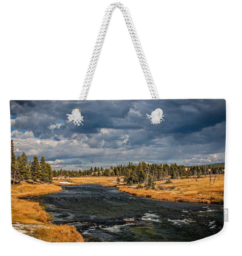 Landscape Weekender Tote Bag featuring the photograph Golden Glory by Gemdelin Jackson