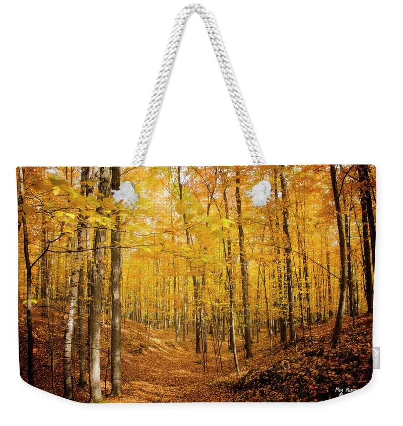 Autumn Forest Weekender Tote Bag featuring the photograph Golden Glory by Peg Runyan