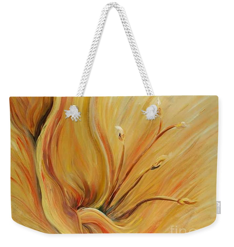 Gold Weekender Tote Bag featuring the painting Golden Glow by Nadine Rippelmeyer