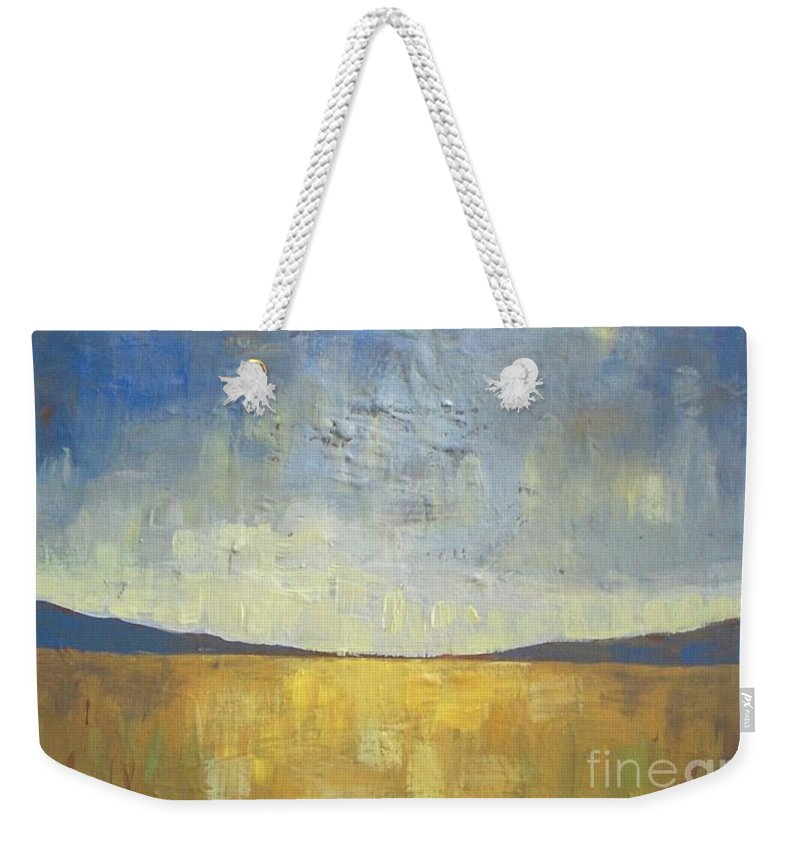 Autumn Weekender Tote Bag featuring the painting Golden Glow by Vesna Antic