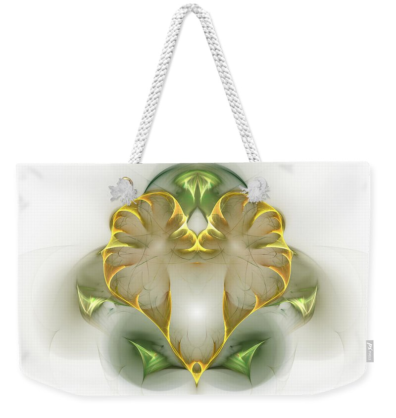 Fractal Weekender Tote Bag featuring the digital art Golden Heart by Richard Ortolano