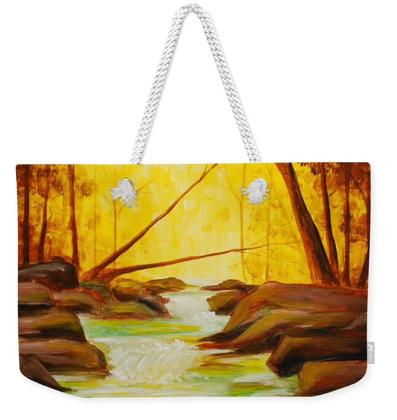 Creek Weekender Tote Bag featuring the painting Golden Hour by Emily Page