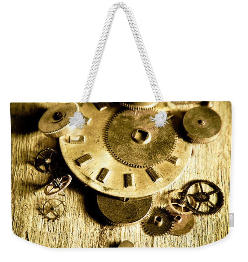 Workshop Weekender Tote Bag featuring the photograph Golden Industry Gears by Jorgo Photography - Wall Art Gallery
