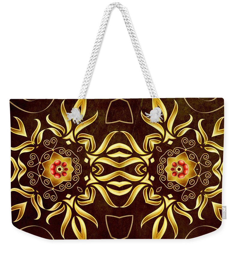 Abstract Weekender Tote Bag featuring the digital art Golden Infinity by Georgiana Romanovna