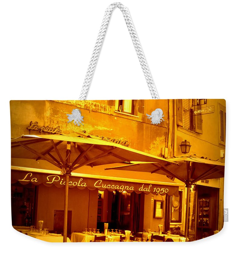 Italy Weekender Tote Bag featuring the photograph Golden Italian Cafe by Carol Groenen