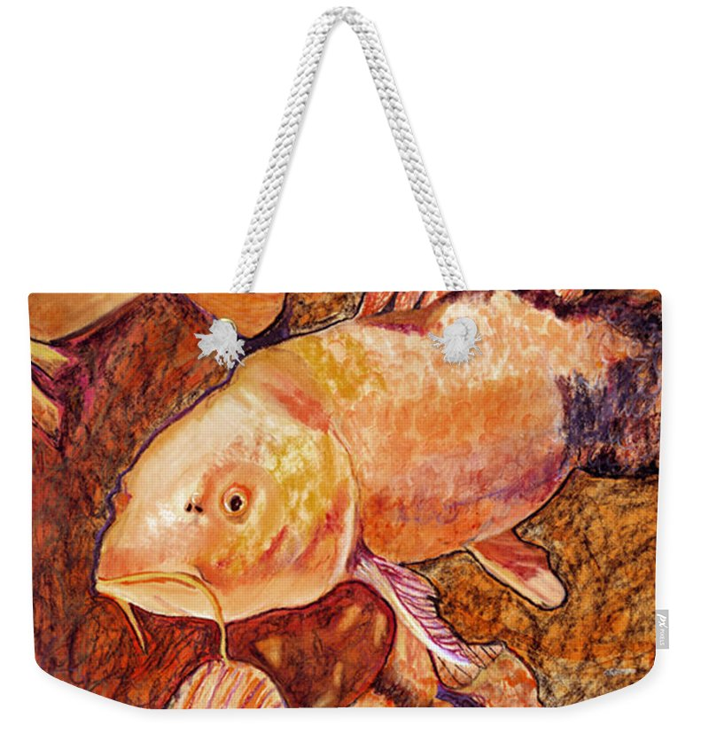 Fish Weekender Tote Bag featuring the painting Golden Koi by Pat Saunders-White