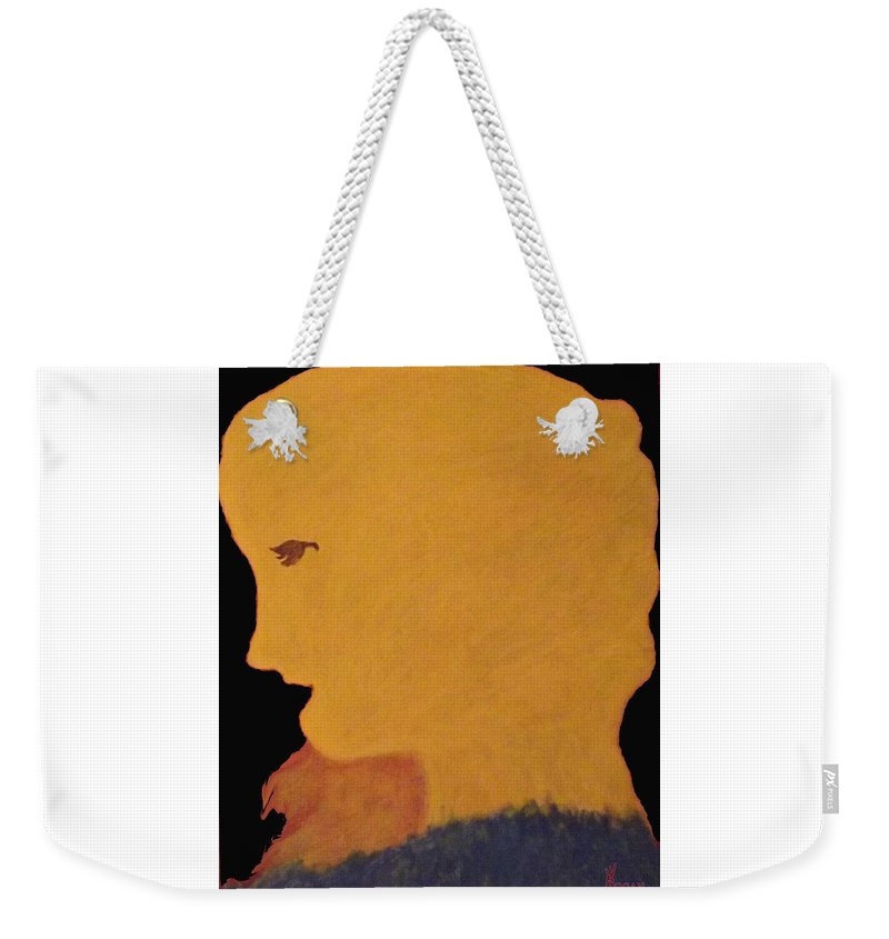 Lady Duck Water Rocks Water Cove Aboriginal Native Metis Weekender Tote Bag featuring the mixed media Golden Lady  -036 by Will Logan