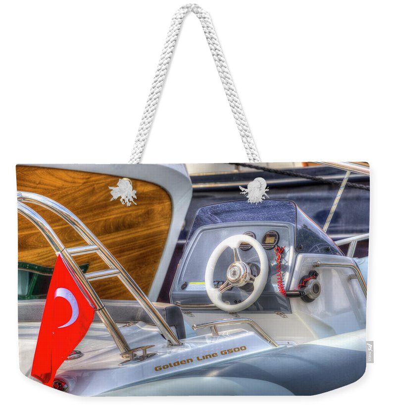 Golden Line G500 Weekender Tote Bag featuring the photograph Golden Line G500 Dinghy by David Pyatt