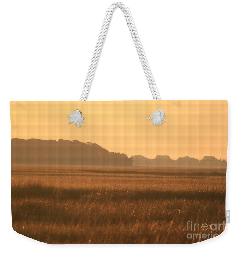 Marsh Weekender Tote Bag featuring the photograph Golden Marshes by Nadine Rippelmeyer
