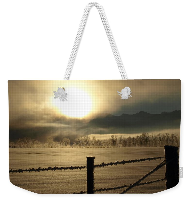 Frost Weekender Tote Bag featuring the photograph Golden Morning by DeeLon Merritt