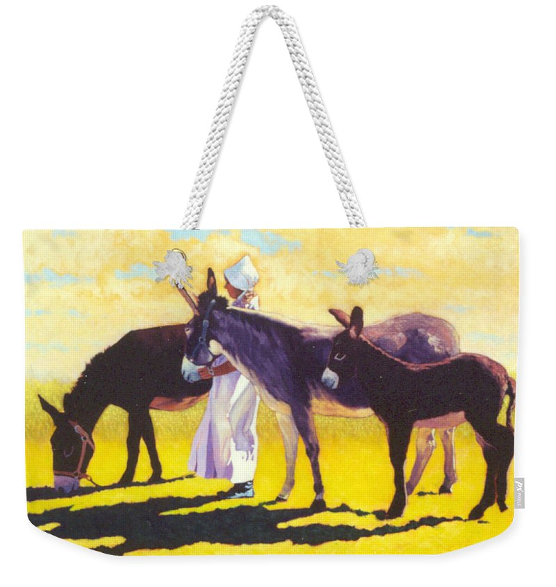 Mules Weekender Tote Bag featuring the painting Golden Morning by Jim Bob Swafford