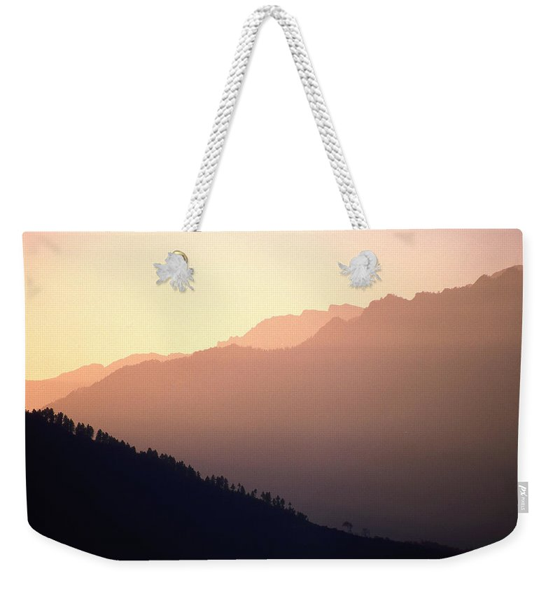 Langtang Weekender Tote Bag featuring the photograph Golden Mountains by Patrick Klauss