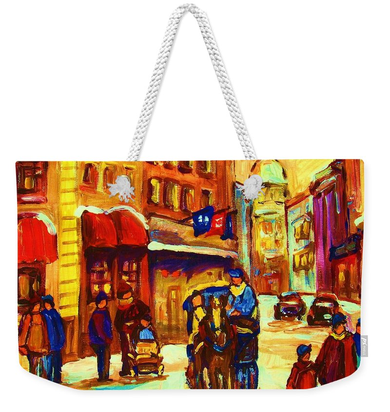 Montreal Weekender Tote Bag featuring the painting Golden Olden Days by Carole Spandau