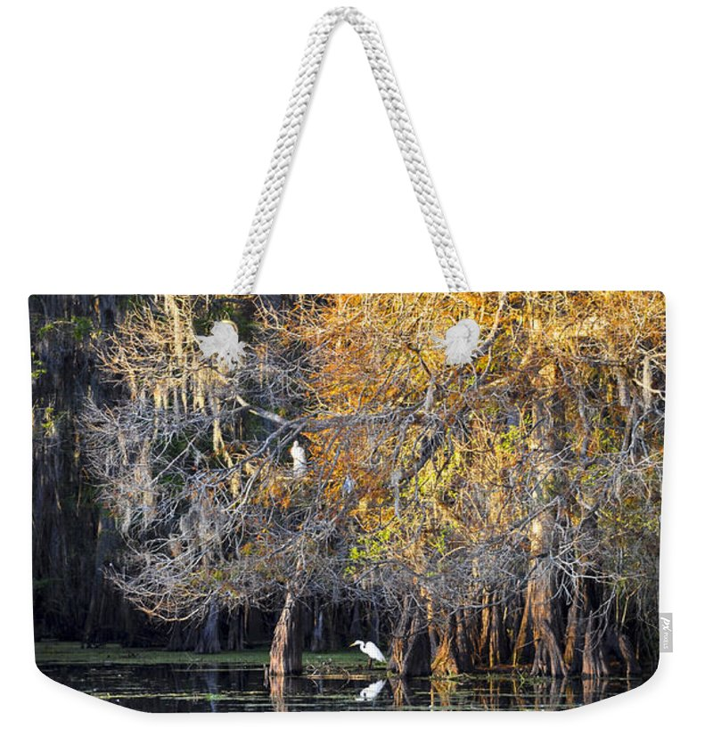 Golden Hour Weekender Tote Bag featuring the photograph Golden On The River by Carolyn Marshall